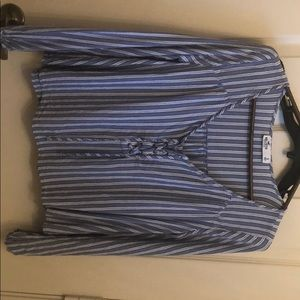 Hollister (S) blue and white striped long sleeved